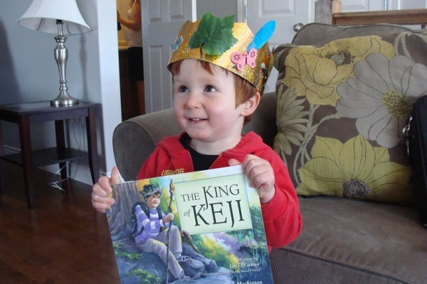 While he didn't make the book launch, Levi was happy with his crown and book!